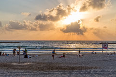 Tel Aviv beach sunset Royalty Free Stock Photo