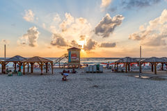 Tel Aviv beach sunset Royalty Free Stock Photography