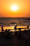 Tel Aviv Beach Sunset, Israel Stock Images