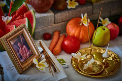 Tel Aviv - 10 05 2017: Beautfil ordnat ställe för Vedic bröllop Arkivfoton