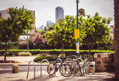 Tel Aviv bicycles parking Stock Image
