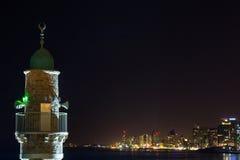 Tel Aviv bij nachtpanorama Royalty-vrije Stock Afbeeldingen