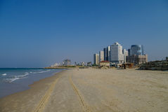 Tel-Aviv cityscape and beach panorama from side of Jaffa old por Royalty Free Stock Image