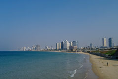 Tel-Aviv cityscape and beach panorama from side of Jaffa old port Royalty Free Stock Image