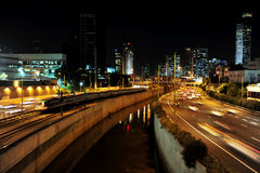 Tel Aviv cityscape at night Stock Photography
