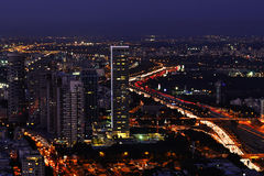 Tel-Aviv cityscape at night Stock Image