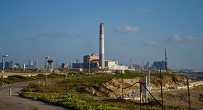 Tel Aviv cityscape. With a power station in the middle Stock Images