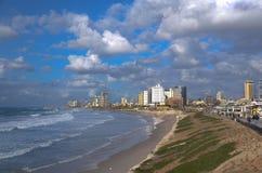 Tel Aviv coast at sunset stock photo