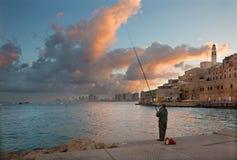 Tel Aviv - The coast under old Jaffa and Tel Aviv in morning. Royalty Free Stock Image