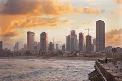 Tel Aviv - The coast under old Jaffa and Tel Aviv in morning. Royalty Free Stock Photos