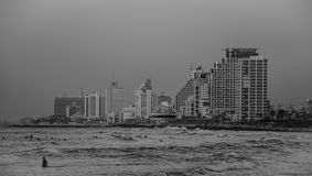 Tel Aviv coastline BW Royalty Free Stock Images