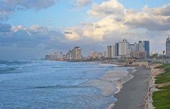 Tel Aviv Coastline at the Sunset Stock Photos