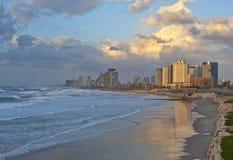 Tel Aviv Coastline at the Sunset Royalty Free Stock Photography