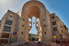 Tel Aviv - 10 02 2017: De buitenkant van het de kunstmuseum van Tel Aviv en kunstmonu Royalty-vrije Stock Fotografie