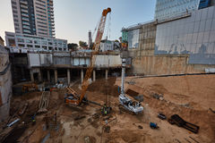 Tel-Aviv - 9 December, 2016: Workers in construction site, Tel A Royalty Free Stock Images
