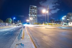 Tel Aviv deptak przy nocą Obraz Royalty Free