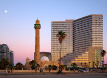 Tel Aviv at Dusk, Israel. The famous David Inter-Continental hotel as the sun sets on Tel Aviv, Israel stock images
