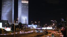 Tel Aviv en la noche almacen de video