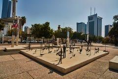 Tel Aviv - 10 02 2017: Esterno del museo di arte di Tel Aviv e monu di arte Immagini Stock Libere da Diritti