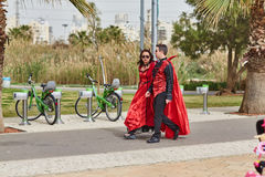 Tel Aviv - 20 February 2017: People wearing costumes in Israel d stock photo