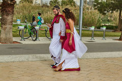 Tel Aviv - 20 February 2017: People wearing costumes in Israel d Royalty Free Stock Images