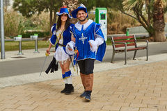 Tel Aviv - 20 February 2017: People wearing costumes in Israel d Royalty Free Stock Photography