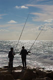 Tel Aviv - fishing of young boys on the coast Royalty Free Stock Image