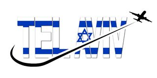 Tel Aviv flag text with plane and swoosh illustration royalty free stock images