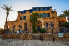 Tel Aviv, Israël - April 21, 2017: Oude steenstraten in Arabische stijl in Oude Jaffa royalty-vrije stock afbeelding