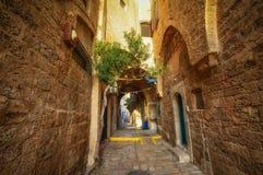 Tel Aviv, Israël, oude steenstraten in Arabische stijl in Oude Jaffa royalty-vrije stock afbeeldingen