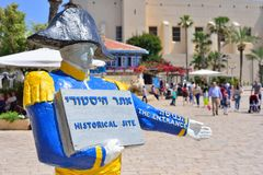 TEL AVIV, ISRAEL - APRIL, 2017: Napoleon statue. Welcoming touristic sign in Old Jaffa. In 1799 the French, led by Napoleon. Bonaparte, captured the city from royalty free stock photo