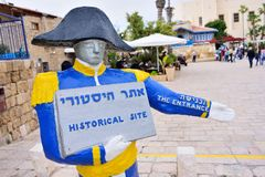 TEL AVIV, ISRAEL - APRIL, 2017: Napoleon statue. Welcoming touristic sign in Old Jaffa. In 1799 the French, led by Napoleon. Bonaparte, captured the city from stock image