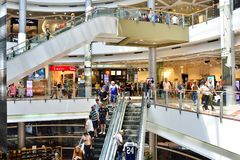 TEL AVIV, ISRAEL- APRIL, 2017: People visits shopping centre in Azrieli Center complex of three skyscrapers in Tel Aviv.  stock images