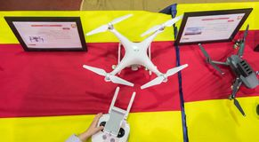 Professional drones at annual military show. TEL-AVIV, ISRAEL - APRIL 3, 2018: Professional drones at annual military show royalty free stock image