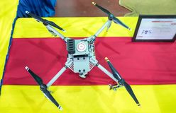 Professional drones at annual military show. TEL-AVIV, ISRAEL - APRIL 3, 2018: Professional drones at annual military show royalty free stock photography