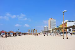 TEL AVIV, ISRAEL - APRIL, 2017: Tel Aviv beach with some of its famous hotels, Mediterranean sea. TEL AVIV, ISRAEL - APRIL, 2017: Tel Aviv beach with some of stock photography