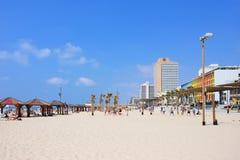 TEL AVIV, ISRAEL - APRIL, 2017: Tel Aviv beach with some of its famous hotels, Mediterranean sea. TEL AVIV, ISRAEL - APRIL, 2017: Tel Aviv beach with some of Stock Photography