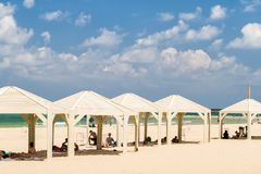 Beach of the Mediterranean Sea in Tel Aviv, Israel stock image