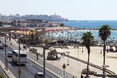 Sommar på stranden i Tel Aviv Jaffa Arkivfoto