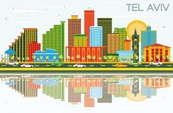 Tel. Aviv Israel City Skyline met Kleurengebouwen, Blauwe Hemel en royalty-vrije illustratie