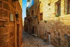 Tel Aviv, Israel - 21 de abril de 2017: Ruas de pedra antigas no estilo árabe em Jaffa velho Fotografia de Stock