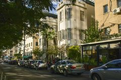 Tel Aviv, Israel- December 20, 2014: Old Renovated and modern Bu Royalty Free Stock Photos