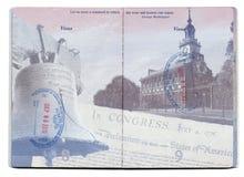 USA pass stämplad sida Royaltyfri Bild