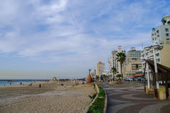 Tel-Aviv, Israel- December 9, 2010: View of city beach and emban Stock Photo