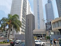 TEL AVIV, ISRAEL. Information Stele With The Inscription `The Giamond Museum` Against The Background Of High-rise Buildings Of The Royalty Free Stock Images
