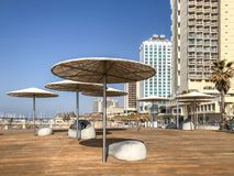 TEL AVIV, ISRAEL - JANUARY 23, 2019: Public beach promenade with some of its hotels stock image