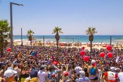 20th Tel Aviv Pride, Israel. Tel Aviv, Israel - June 8, 2018: 20th annual Tel Aviv Pride Week.At the parade, people walking, dancing, singing, waving banners and stock photo