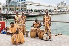African ethnic music band at Tel-Aviv port promenade stock photography