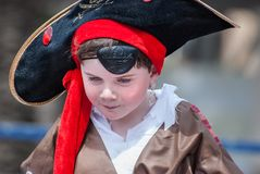 Little boy in pirate costume celebrate the Purim holiday at Tel royalty free stock photos