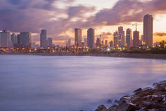 TEL AVIV, ISRAEL - MARCH 2, 2015: The panorama of Tel Aviv in the morning dusk Stock Photos